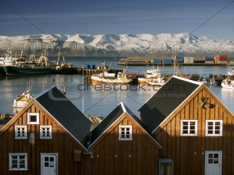 Seaport at Iceland in North Europe.