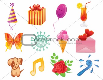 Vector set of Birthday icons