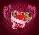 Pink heart with wings