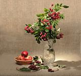 Bouquet of ashberry in glass vase and group of a red apples.