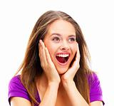 Happy young surprised woman isolated against white