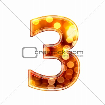 3d number with glowing lights texture