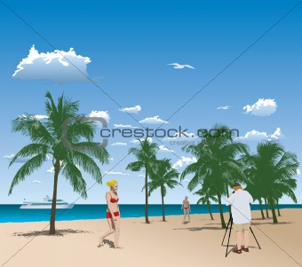 Tourists in tropical beach