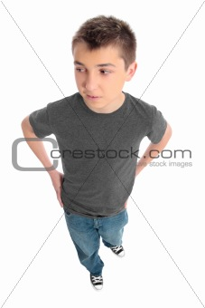 Boy in grey t-shirt and blue jeans