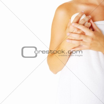 Beautiful Young Spa Woman On White