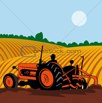 Vintage tractor  and farmer at work