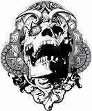 Wicked Skull Shield Illustration
