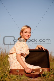 In a suitcase