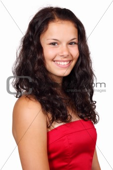 Cute young woman in red dress