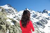 woman hair at snow mountain