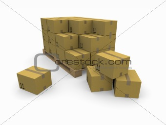 piles of cardboard boxes on a pallet
