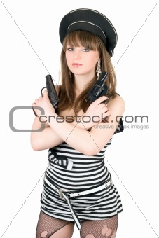 Portrait of the pretty sailor with pistols