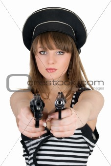 Portrait of the beautiful sailor with pistols