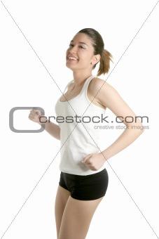 Beautiful young woman running sport at studio