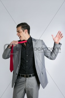 Businessman break finish work take off tie