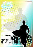 surfing golden poster background 2