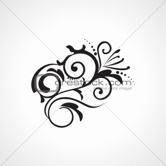 abstract element black floral tattoo