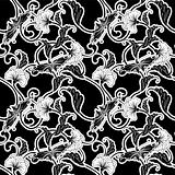 Ornate Japanese inspired black and white repeating seamless tile