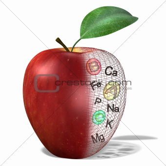 Apple with contained vitamins, minerals