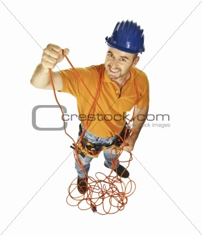 handyman with electric wire