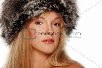 Portrait of girl in fur hat