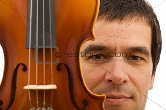 Man face with violin detail