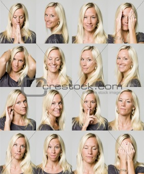 Sixteen facial expressions of a woman
