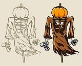 frightful halloween scare-crow with head made of pumpkin