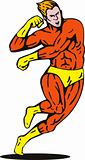 Superhero running and punching