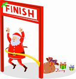 Santa Claus crossing the finish line of a race