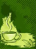 Vertical grungy green tea background