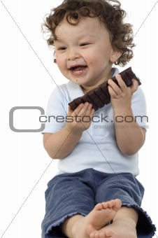 Child with chocolate.