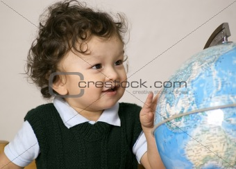 Child with globe.