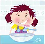 Girl is brushing teeth