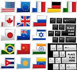 Keyboard with 17 different keys as flags