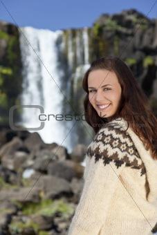 Beautiful Woman By A Waterfall