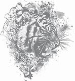 Grunge Tiger Floral Illustration