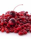 cherry and cranberries on white background