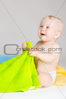 Baby with towels