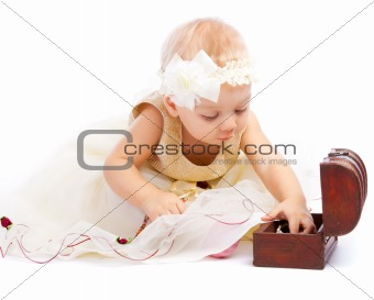 Toddler searching for treasure