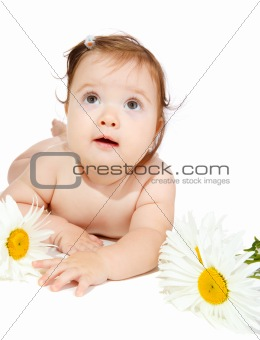 Baby with camomiles