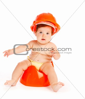 Baby in hardhat