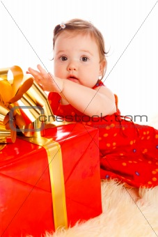 Baby with present box