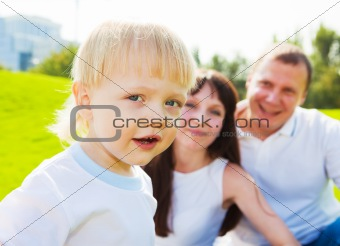 Boy with his parents