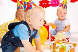 Babies at birthday party