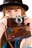 Girl with old camera