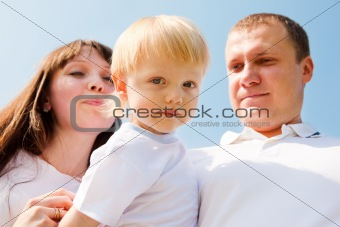 Toddler and his parents