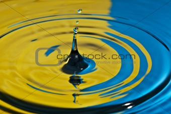 water splash in yellow and blue