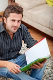 Man studying at home