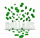 Dollar symbol raining over dollars